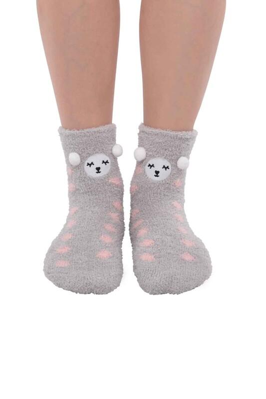 SAHAB - Ayıcık Nakışlı Kadın Pelüş Çorap 47100 | Gri