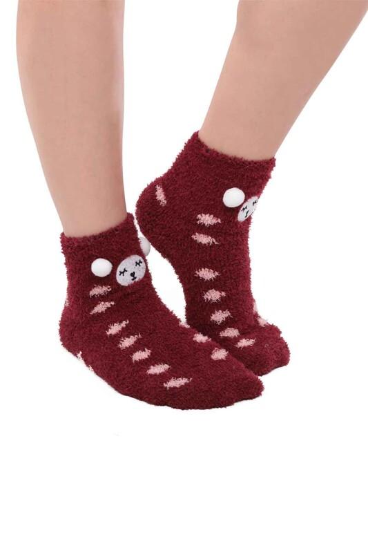 SAHAB - Ayıcık Nakışlı Kadın Pelüş Çorap 47100   Bordo