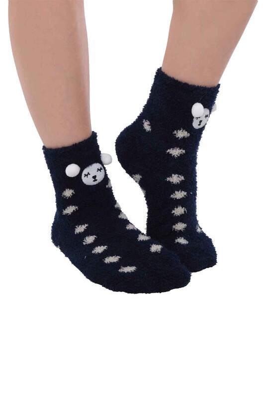 SAHAB - Ayıcık Nakışlı Kadın Pelüş Çorap 47100   Lacivert