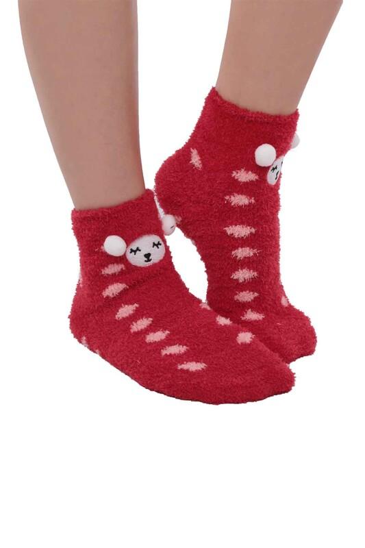 SAHAB - Ayıcık Nakışlı Kadın Pelüş Çorap 47100   Kırmızı