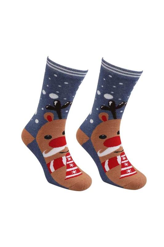 SARA DONNA - Yılbaşı Havlu Çorap 001   İndigo