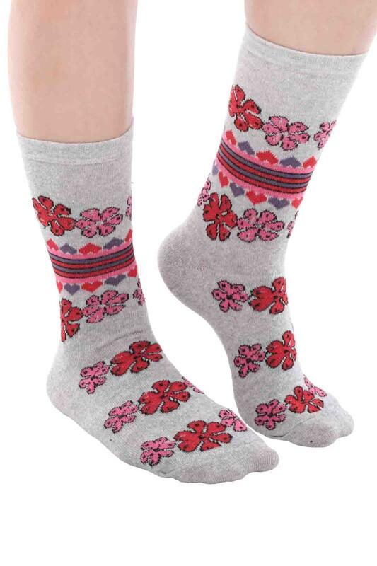 SİMİSSO - Kadın Desenli Çorap 101 | Gri