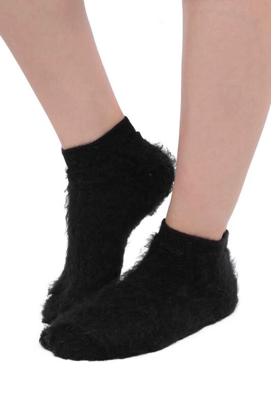 SİMİSSO - Dışı Şardonlu Termal Kadın Havlu Patik Çorap 3031 | Siyah