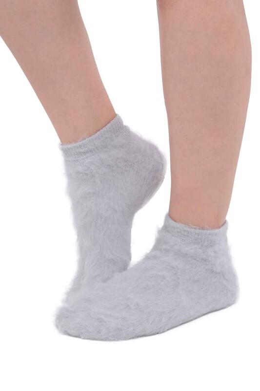 SİMİSSO - Dışı Şardonlu Termal Kadın Havlu Patik Çorap 3031 | Gri