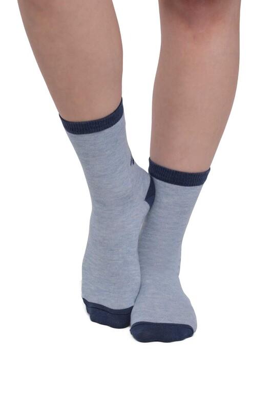 SİMİSSO - Kedi Desenli Kadın Çorap | Mavi