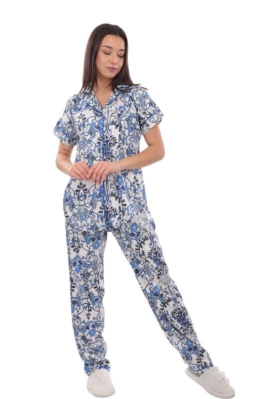 AYDOĞAN - Aydoğan Desenli Poplin Gömlek Pijama Takımı 14034 | Mavi