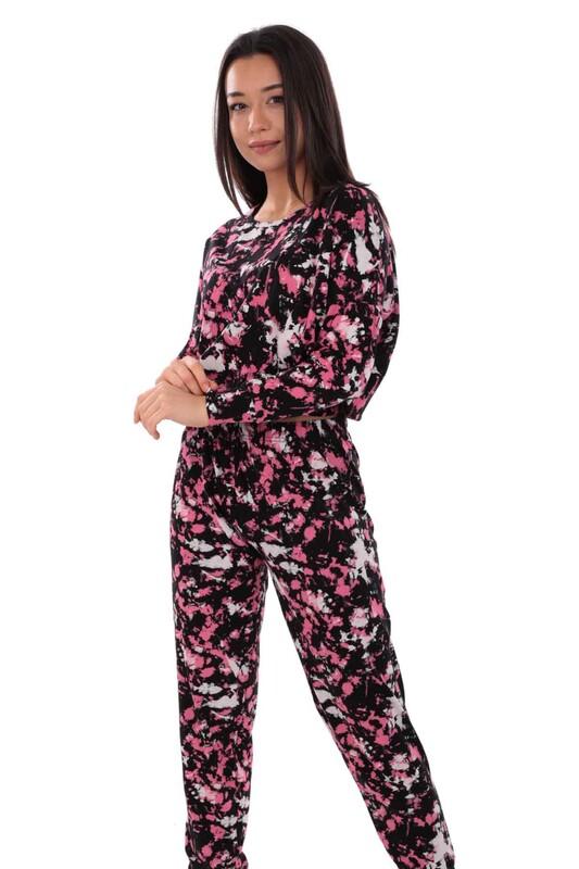 KOZA - Koza Desenli Kadın Pijama Takımı 70554 | Siyah