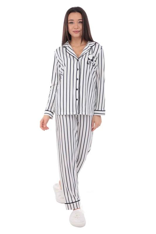 KOZA - Panda Desenli Kadın Pijama Takımı 70546 | Beyaz