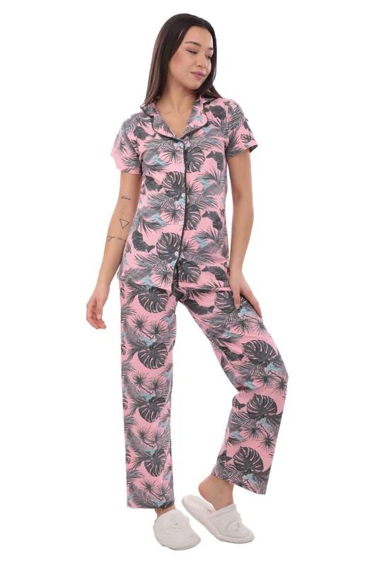 SUDE - Sude Kısa Kollu Gömlek Kadın Pijama Takımı 2020 | Pembe