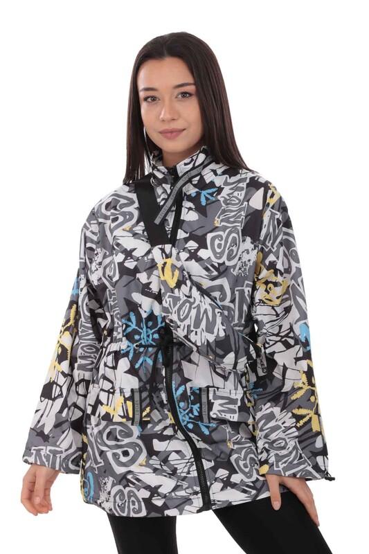 SİMİSSO - Desenli Bel Çantalı Kadın Mont 9619   Siyah