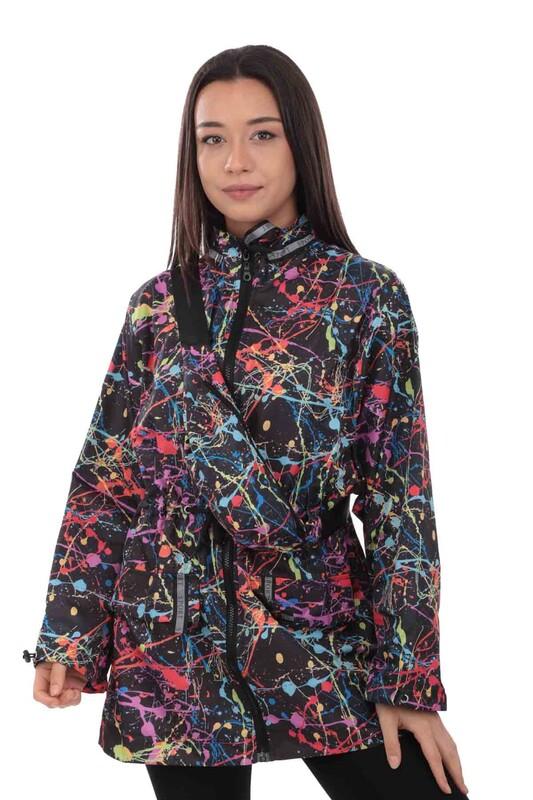SİMİSSO - Desenli Bel Çantalı Kadın Mont 9620   Siyah