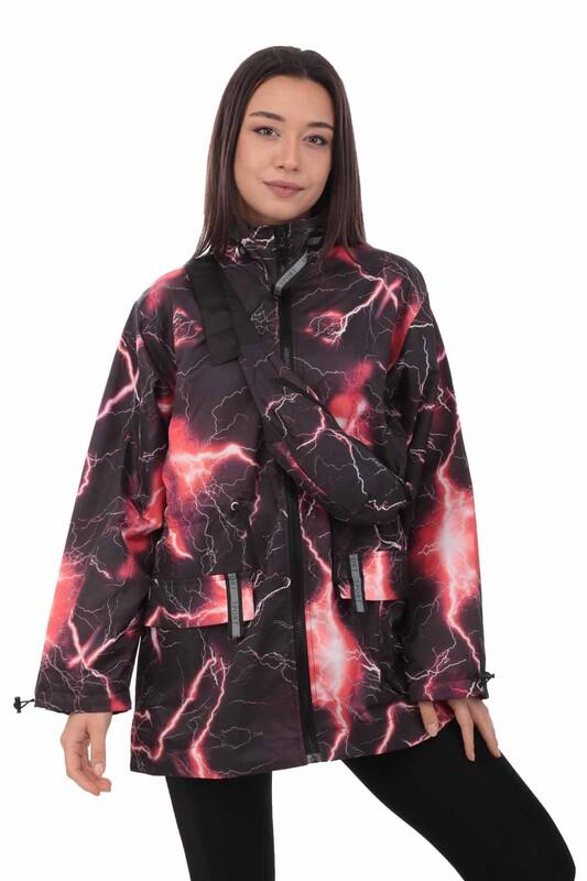SİMİSSO - Desenli Bel Çantalı Kadın Mont 9621   Siyah