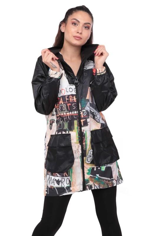 SİMİSSO - Desenli Kadın Mont 9622   Siyah