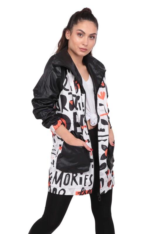 SİMİSSO - Desenli Kadın Mont 9623   Siyah