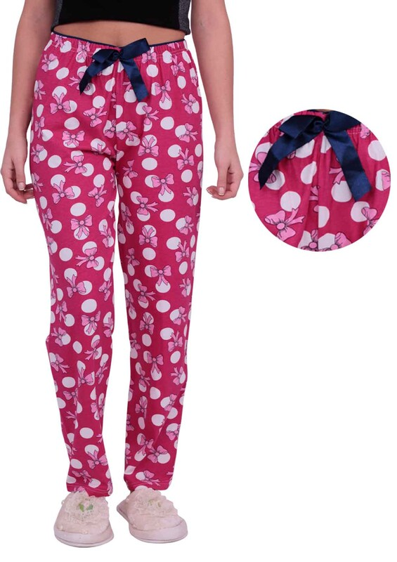 DOĞA - Kurdele Baskılı Kadın Pijama Altı | Pembe