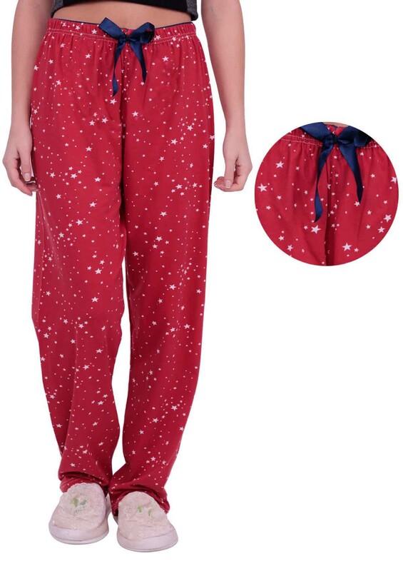DOĞA - Yıldız Baskılı Kadın Pijama Altı | Kırmızı