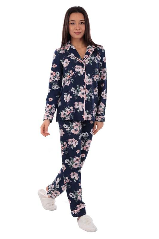 KOZA - Koza Çiçek Desenli Kadın Pijama Takımı 70555 | Lacivert