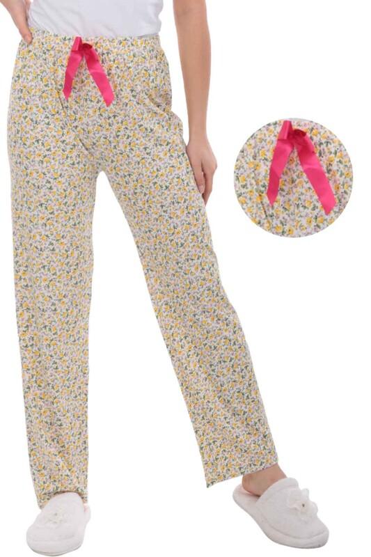 RİNDA - Çiçek Baskılı Kadın Pijama Altı | Sarı