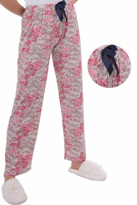 RİNDA - Çiçek Baskılı Kadın Pijama Altı | Bej