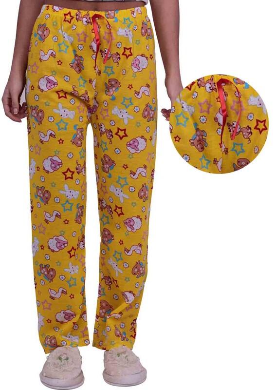 SİMİSSO - Tavşan Desenli Kadın Pijama Altı | Sarı
