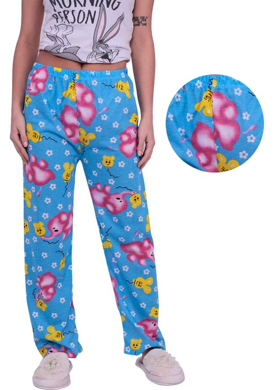 SİMİSSO - Fil Desenli Kadın Pijama Altı | Mavi