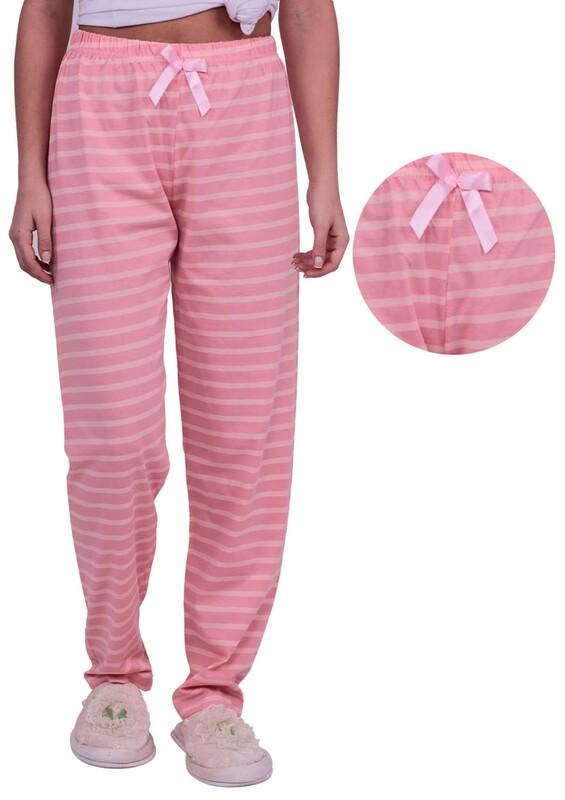 SİMİSSO - Çizgi Desenli Kadın Pijama Altı 002 | Pembe