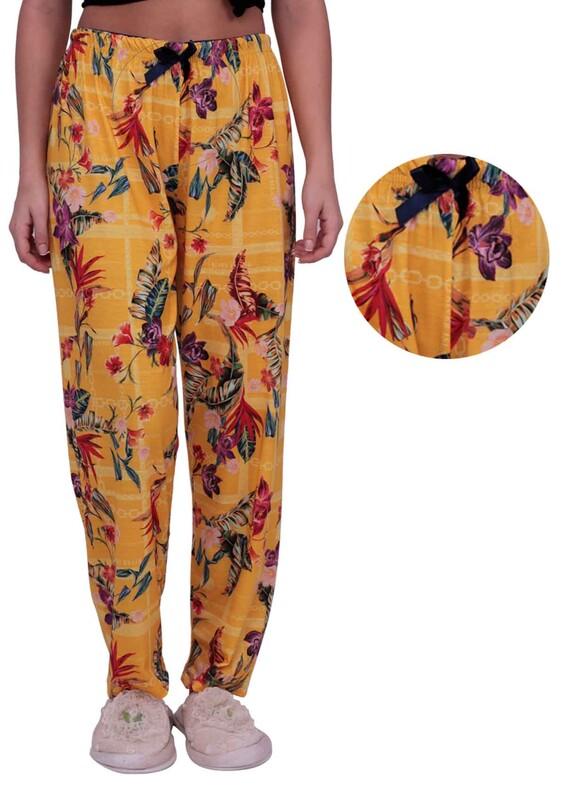 SİMİSSO - Çiçek Baskılı Kadın Pijama Altı | Sarı