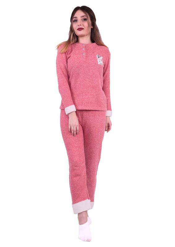 ASMA - Asma Kedi Nakışlı Polar Pijama Takımı 7786 | Pudra