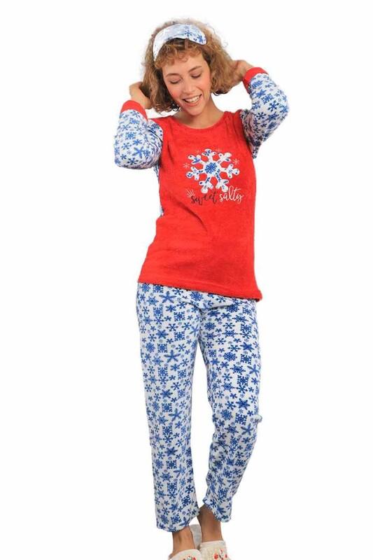 BOYRAZ - Boru Paçalı Kar Taneli Welsoft Pijama Takımı 2048 | Kırmızı