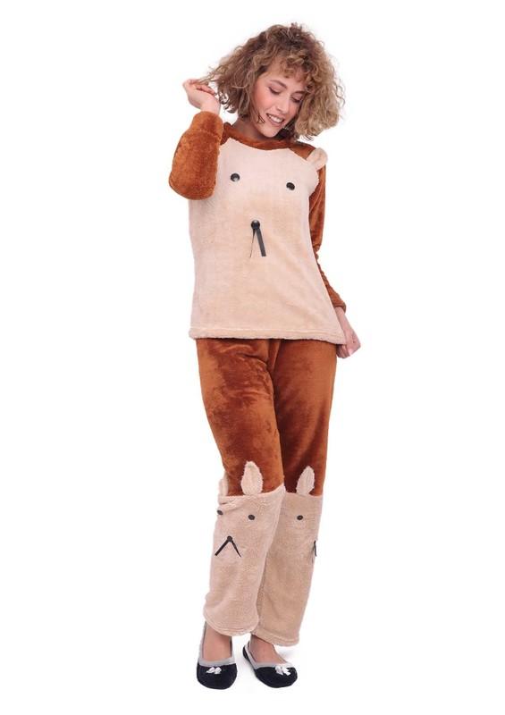 WESHA - Wesha Baskılı Yuvarlak Yakalı Welsoft Pijama Takımı 005 | Kahverengi
