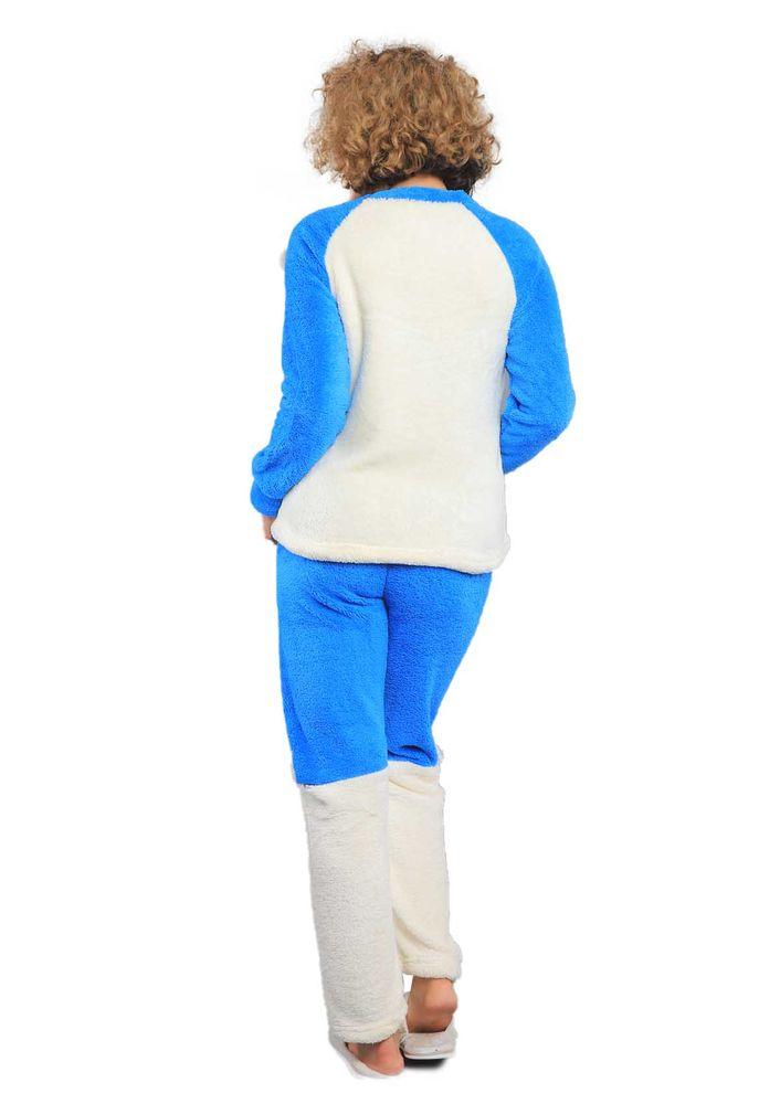 Wesha Baskılı Yuvarlak Yakalı Welsoft Pijama Takımı 005 | Mavi
