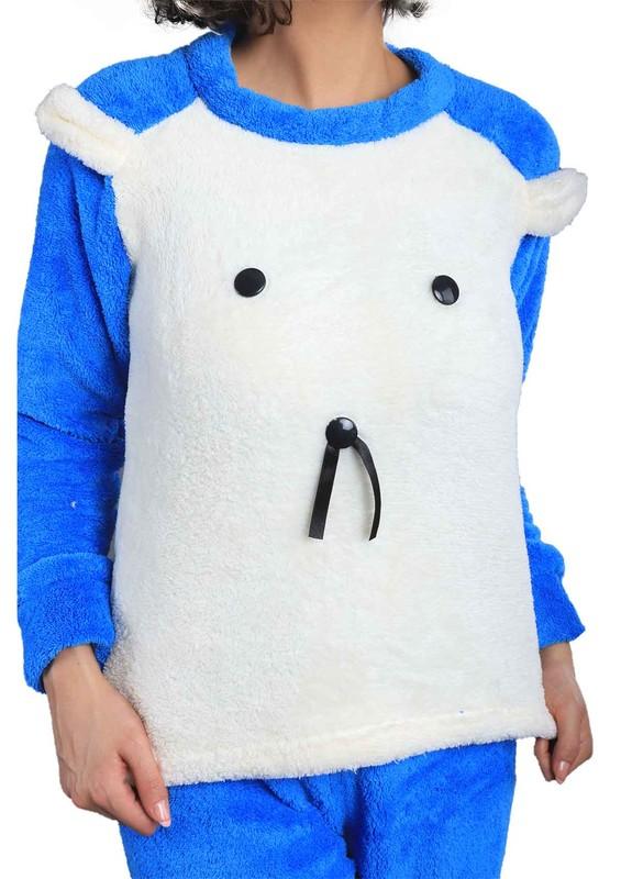 Wesha Baskılı Yuvarlak Yakalı Welsoft Pijama Takımı 005 | Mavi - Thumbnail