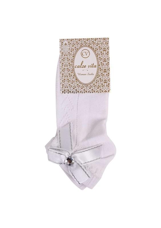 CALZE VİTA - Calze Vita Taşlı Kurdeleli Çorap 346 | Beyaz