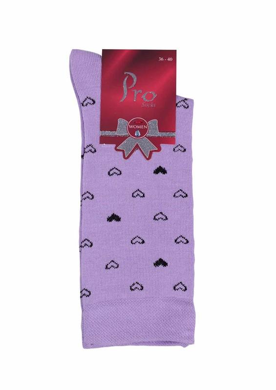 PRO - Pro Defne Kalp Desenli Penye Çorap 25602 | Lila