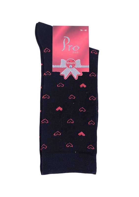 PRO - Pro Defne Kalp Desenli Penye Çorap 25602 | Lacivert