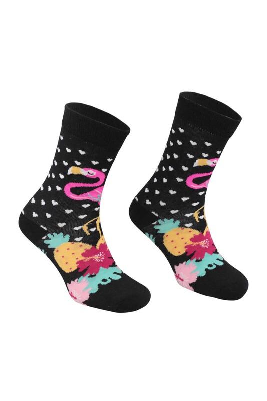 RETRO - Flamingo Desenli Çorap   Fuşya
