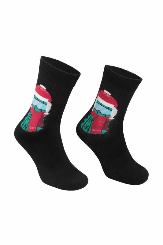 RETRO - Desenli Çorap 9928   Siyah