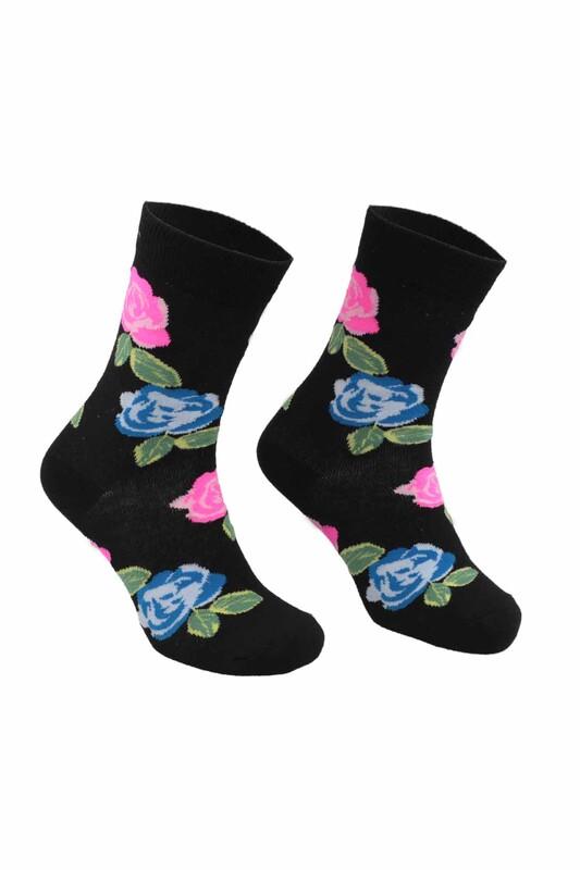 RETRO - Çiçek Desenli Çorap   Siyah