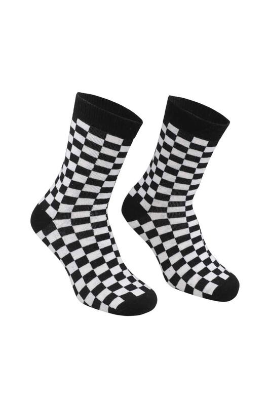 RETRO - Kare Desenli Çorap   Siyah