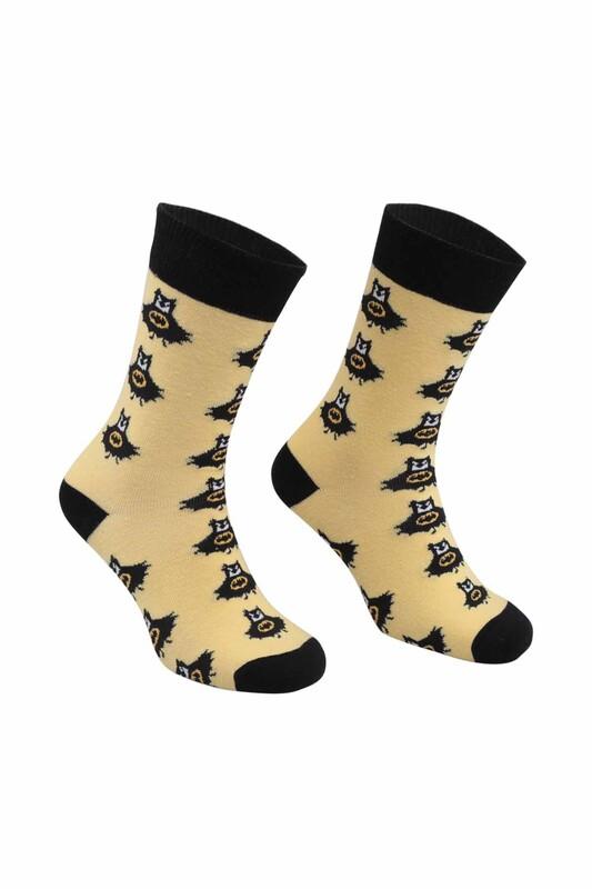 RETRO - Batman Desenli Çorap   Sarı
