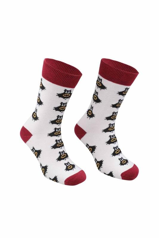 RETRO - Batman Desenli Çorap   Kırmızı