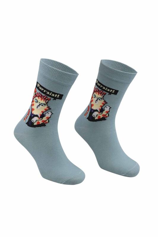 RETRO - Kedi Desenli Çorap   Mavi