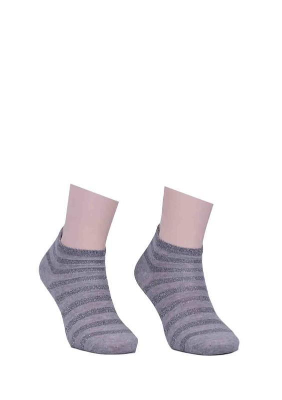 SARA DONNA - Desenli Simli Soket Çorap 100 | Gri