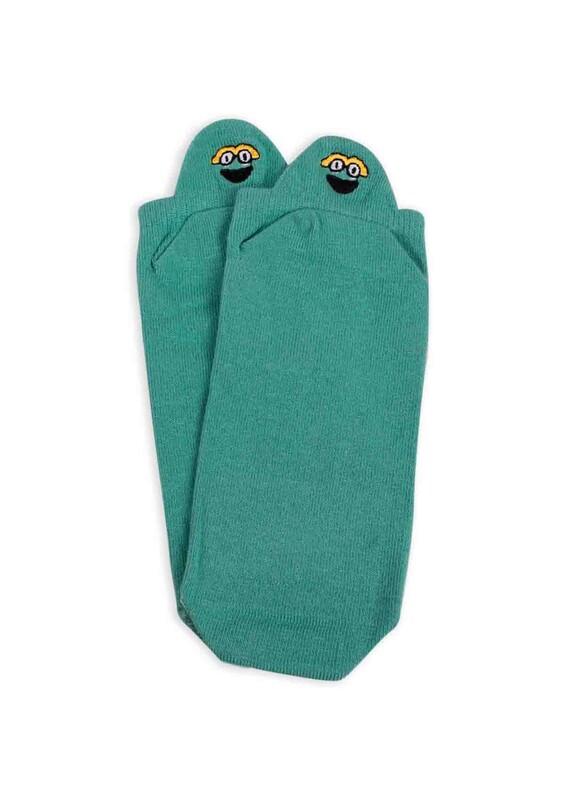 SİMİSSO - Nakış Desenli Kadın Soket Çorap | Yeşil