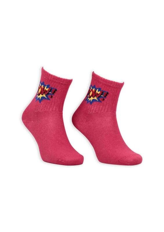 SİMİSSO - Çizgi Film Karakterli Kadın Soket Çorap 00023   Kırmızı