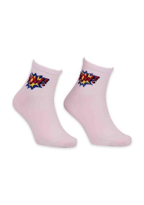 SİMİSSO - Çizgi Film Karakterli Kadın Soket Çorap 00023 | Beyaz