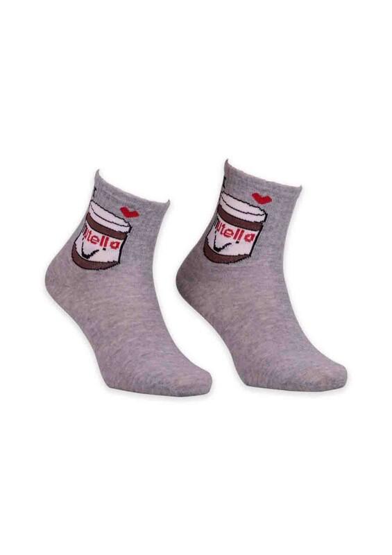 SİMİSSO - Nutella Desenli Bayan Soket Çorap | Gri