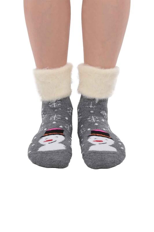 SİMİSSO - Kardan Adam Desenli Kadın Bot Çorap   Füme