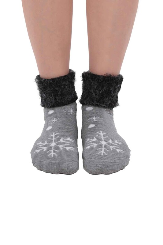 SİMİSSO - Kar Tanesi Desenli Kadın Bot Çorap   Gri