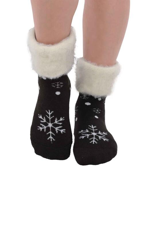SİMİSSO - Kar Tanesi Desenli Kadın Bot Çorap   Haki
